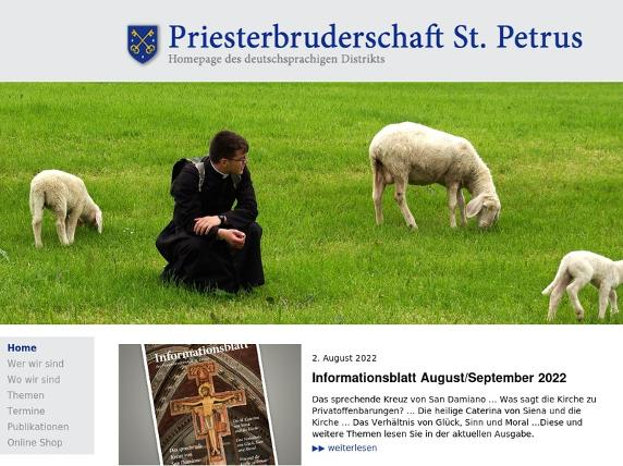 Screenshot von http://petrusbruderschaft.eu/pages/home.php