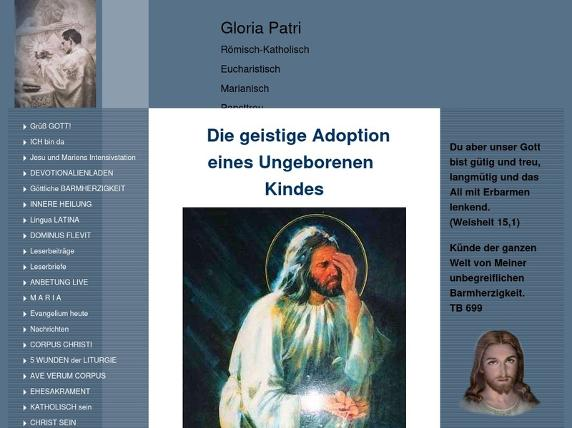 Screenshot von http://www.gloria-patri.de/Geistige-Adoption