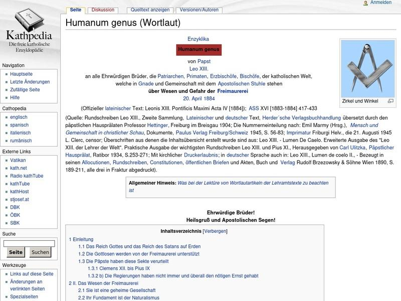 Screenshot von http://www.kathpedia.com/index.php?title=Humanum_genus_%28Wortlaut%29